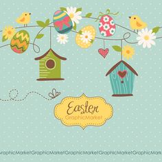 Easter Digital Clip Art and card templates Retro by GraphicMarket, $4.99