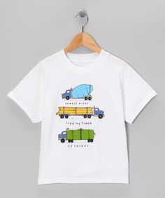 Look at this #zulilyfind! White Three Trucks Tee - Boys by Mulberribush #zulilyfinds