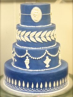 Wedgewood Wedding Cake by Sweet Treets Bakery Beautiful Wedding Cakes, Beautiful Cakes, Amazing Cakes, Big Cakes, Sweet Cakes, Cake Icing, Eat Cake, Greek Cake, Food Artists