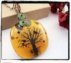 Orange Amber Fused Glass Tree of Life Pendant Copper Bail no Chain. $19.99, via Etsy.