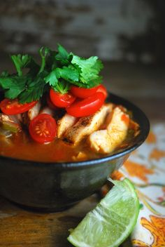 South by Southwest Chicken Soup - full of grilled chicken, veggies and spices - is a healthy, high-protein meal with big flavor. Paleo and gluten-free. Paleo Menu, Paleo Soup, Paleo Dinner, Healthy Soup, Healthy Eating, Clean Eating, Paleo Chicken Recipes, Primal Recipes, Soup Recipes