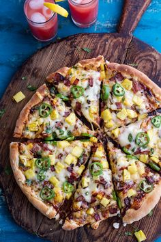 Sweet Chili Pineapple and Jalapeño Pizza with Bacon.