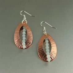 July 2012 Handmade Copper Jewelry Giveaway - Chased Copper Tear Drop Earrings with Amazonite Gemstones