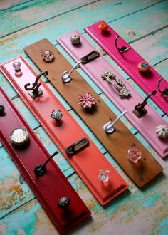 Storage Knob Displays In Pinks, Red, Coral, And Shabby Chic Wood