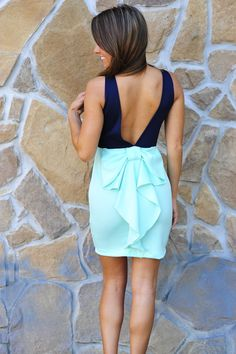Better With Bows Dress: Navy/ Mint