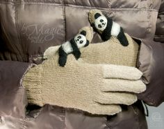 Hand knitted wool gloves with panda, knitting gloves, felt panda, wool, women clothing, winter warmer, gift for her, wool gloves, medium - pinned by pin4etsy.com