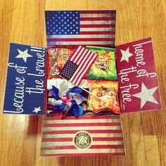 """""""Home of the Free - Because of the Brave"""" ❤ 4th of July Care Package"""