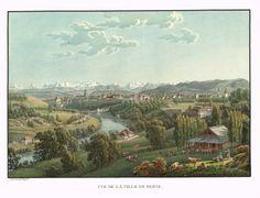 Vue de la ville de Berne - Aquatinte - gravure imprimée en couleurs par Johann HÜRLIMANN (1793-1850) d'après Mathias Gabriel LORY fils (1784-1846) - MAS Estampes Anciennes - MAS Antique Prints