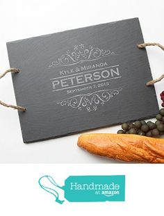 Personalized Slate Cheese Boards, Custom Engraved Slate Serving Tray Design 7-Personalized Wedding Gift, Engraved Anniversary Gift, Bridal Shower from Engravable Creations https://www.amazon.com/dp/B018A482G6/ref=hnd_sw_r_pi_awdo_6vXoyb3J2Y6PJ #handmadeatamazon