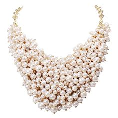 Jane Stone White Beads Cluster Bib Necklace Fashion Statement Chunky Jewelry(Fn1042) ** More info could be found at the image url.