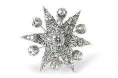Antike Brosche Stern mit Diamanten insg ca 1,5ct Platin Weißgold [BRORS 12912]
