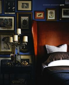 YES! um this leather wingback headboard against that blue wall, k o.