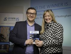 Our Technical Manager Thomas Elliott receiving our 'Best Use of Steel' award at the Offsite Awards Dec 2015