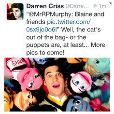 Darren Criss  aka glee's Blaine Anderson... With glee-inspired puppet friends!