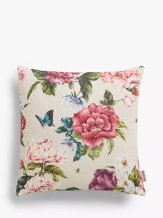 Sanderson National Trust Summer Peony Cushion, Rose at John Lewis & Partners Sanderson Fabric, Shell Station, John Lewis Shops, Collection Services, Cushion Filling, National Trust, Home Collections, Green And Purple, Country Of Origin