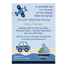 baby shower invitations for boys | Car Boat Airplane Boys Baby Shower Invitations from Zazzle.com