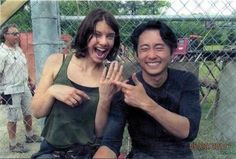 Lauren Cohan (Maggie) and Steven Yeun (Glenn) behind the scenes. BTW this was the episode when Glenn proposed.