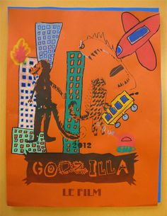 workshop with kids in Mulhouse. Silkscreened poster for a Godzilla movie remake.