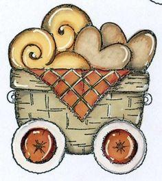 carrinho cesta de corações