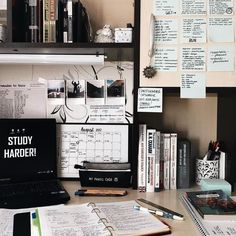 Study/work/organization/planner/Knowledge inspiration How To Get Organised And Ready For Your Next Semester - UK Study Areas, Study Space, Zones D'étude, Desk Inspo, Study Room Decor, Study Rooms, Decor Room, Bedroom Decor, Study Corner