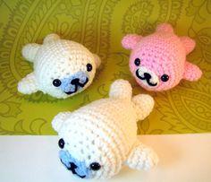 Made to Order Super Kawaii Mamegoma Seals Amigurumi Crochet Plush Animals. $8.00, via Etsy.