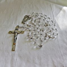 Sterling Silver Rock Crystal Quartz Rosary Ca by SilverFoxAntiques, $295.00