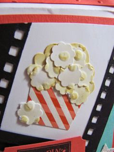 Unique Ink-Popcorn made with Cupcake punch  Stampin' Up!