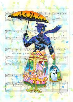 """""""A Mary Tune"""" By Tim Rogerson - Original Mixed Media on Paper - Mary Poppins"""
