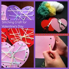 Try this stitching craft for Valentine& Day- great for preschoolers and school age kids! Valentine Theme, Valentines Day Party, Valentines For Kids, Valentine Day Crafts, Holiday Crafts, Valentines Day Activities, Holiday Activities, Craft Activities, Preschool Crafts
