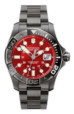1e75f64aab4 Victorinox Swiss Army Men s 241430 Dive Master 500 Black Ice Red Dial Watch