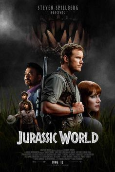 The story is based on a dinosaur which is created at Jurassic World, which is a theme park, located on an island, called Isla Nublar, which was the site of the original Jurassic Park. The Jurassic World contain so many species of Dinosaurs' clones. Jurassic World Poster, Jurassic World 2015, Jurassic Movies, Michael Crichton, Cinema Tv, Films Cinema, Love Movie, Movie Tv, Image Film