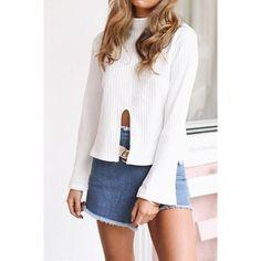 White Knit Turtleneck Mid Slit Long Flare Sleeve Sweater Top