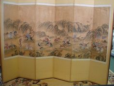 """Six Panel Handpainted Korean Manchurian Hunt Scene: 19thC Ink and Color on Paper Depicts Continuous Hunt Scene with Men on Horseback Chasing Prey, and Attendants with Noble Ladies. All Dressed in Manchurian Costume. Color is Bright, Each Painting is 38"""" X 15"""". Panel is 64""""T. Folk Art Painting Capturing the Spirit of the People and to Show Signs of Bravery. Damage 1 1/4"""" at Bottom of 4th Panel and 8"""" X 4"""" at Top of 6th Panel. Neither Affects Painting. (4500-7500)"""