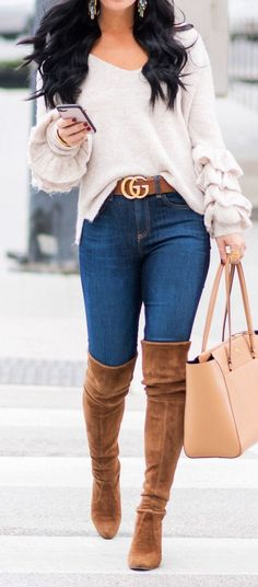 150 Fall Outfits to Shop Now Vol. 3 / 101 - Gucci Sweater - Ideas of Gucci Sweater - 150 Fall Outfits to Shop Now Vol. Fall Outfits 2018, Mode Outfits, Fall Winter Outfits, Autumn Winter Fashion, Casual Outfits, Winter Wear, Stylish Winter Outfits, Heels Outfits, Winter Dresses
