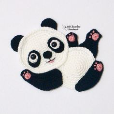 PATTERN- Panda Applique-Crochet Pattern, pdf The Effective Pictures We Offer You About tricot et Crochet A quality picture can tell you many things. Crochet Applique Patterns Free, Cat Applique, Baby Knitting Patterns, Crochet Motif, Crochet Panda, Crochet Animals, Crochet Toys, Manta Animal, Crochet Embellishments