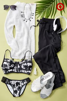 Confident and cool yet still casual and occasionally fun (palm print bikini anyone?), black and white is making a serious case for itself. Plus a pair joggers and sandals are two of the most versatile things you can get yourself this summer.
