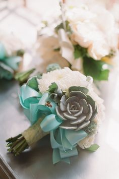 tiffany blue, succulent,s and garden roses