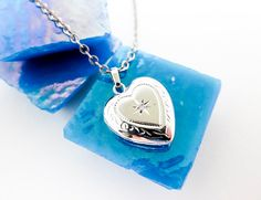 """1980s Heart Shaped Mini Locket w. Genuine Diamond, Pendant/Necklace 16"""" Chain, 925 Sterling Silver, Engraved Detailing, USA Made.    by TampicoJewelry, $98.00"""