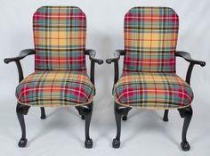 RL tartan plaid upholstery on English chairs - nailhead trim. Beautifully done!