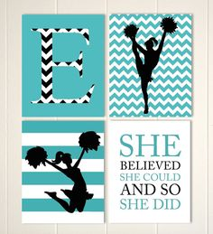Cheerleader Wall Art Girls Room Cheer Decor Girls Wall Art Chevron Wall Art