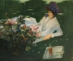 MERIETTE CHABOT WITH PEONIES Jacques Emile Blanche