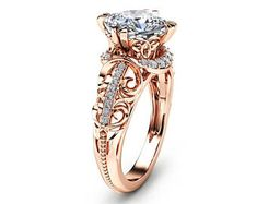 """Cushion Cut Morganite Ring in Rose Gold Unique Engagement Ring Cushion Cut Engagement Ring Art Deco Ring with 2 Carat Morganite - Camellia Jewelry - For That """"Yes"""" Moment Cushion Cut Engagement Ring, Rose Gold Engagement Ring, Solitaire Engagement, Gold Gold, Cushion Cut Diamond Ring, Oval Diamond, Diamond Rings, Piercings, 3d Video"""