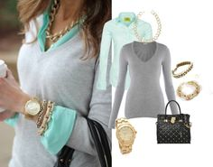 """""""Mint Green and Gray"""" by heather767 on Polyvore"""