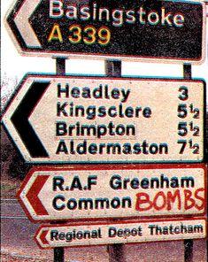 Greenham Common road sign. Source: Observer, 1982, December 12 p. 11.