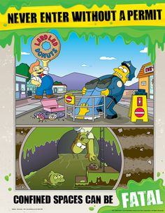 File:The Simpsons Safety Poster Health And Safety Poster, Safety Posters, Simpsons Funny, The Simpsons, Futurama, Safety Cartoon, Safety Dance, Safety Slogans, Confined Space