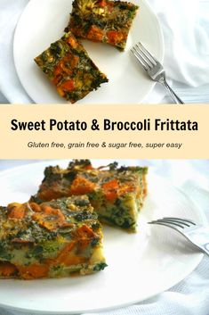 Sweet Potato & Broccoli Frittata - Nourish Everyday - Frittata is so easy to make and great to have on hand for a super quick breakfast, lunch or dinner. Chunks of sweet potato and healthy broccoli are baked in to this one - it's so delicious!