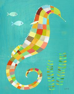 This magical seahorse and his two tiny, fish friends are scoping out the seaweed in this imaginative canvas wall art by Melanie Mikecz. The bright, colorful squares cover this seahorse with originality and style. Give your child a look into the endless oc My Canvas, Canvas Art Prints, Canvas Wall Art, Seahorse Art, Colorful Seahorse, Ocean Art, Collages, Art For Kids, Daisy