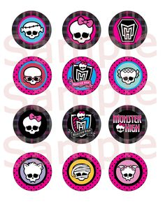 monster high free printables | Monster High Cupcake Toppers Birthday Party Decorations Pictures