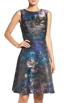 Chetta B Jacquard Fit & Flare Dress