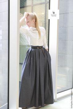 Купить юбка/юбка длинная /юбка в пол/юбка джинсовая - тёмно-синий, юбка, юбка в пол